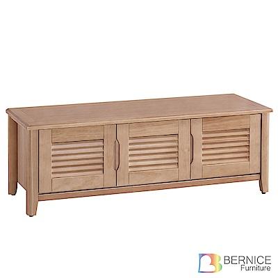 Bernice-米洛斯4尺實木三門百葉座式鞋櫃-120x41x45cm