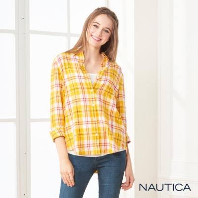 Nautica女裝輕柔格紋長袖襯衫 -黃紅格