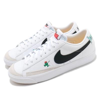 Nike 休閒鞋 Blazer Low 77 運動 女鞋 基本款 簡約 卡通圖案 皮革 穿搭 白 黑 DJ5201106