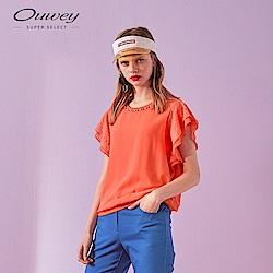 OUWEY歐薇 多層次雪紡縫珠上衣(白/紫/桔)