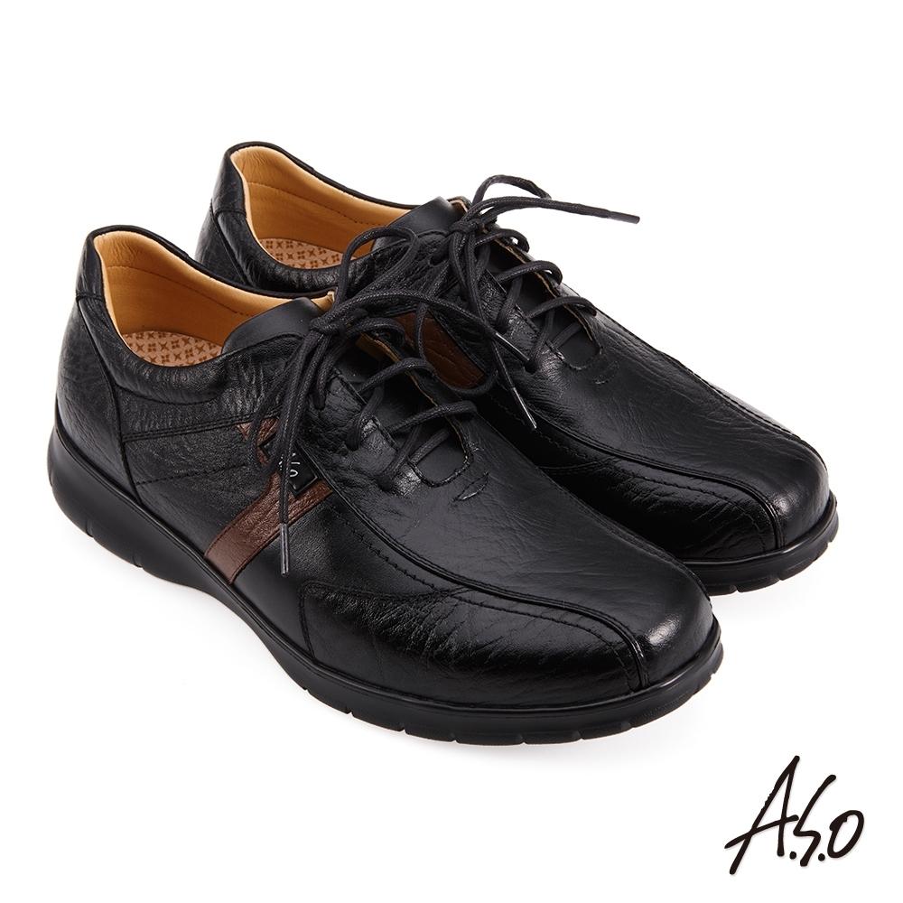 A.S.O 活氧壓紋綁帶商務氣墊鞋-黑色