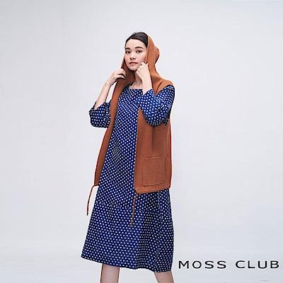 MOSS CLUB INLook 小方格紋寬袖鐘形長洋裝