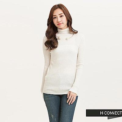 H:CONNECT 韓國品牌 女裝-粗羅紋高領針織上衣-白(快)