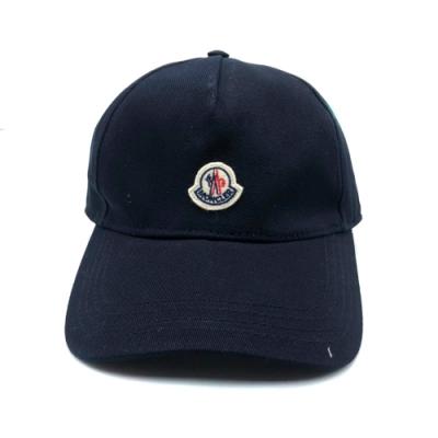MONCLER 刺繡Logo設計棉布棒球帽(黑)