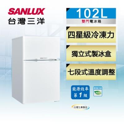 [時時樂限定] SANLUX台灣三洋 102L 1級定頻雙門電冰箱SR-C102B1