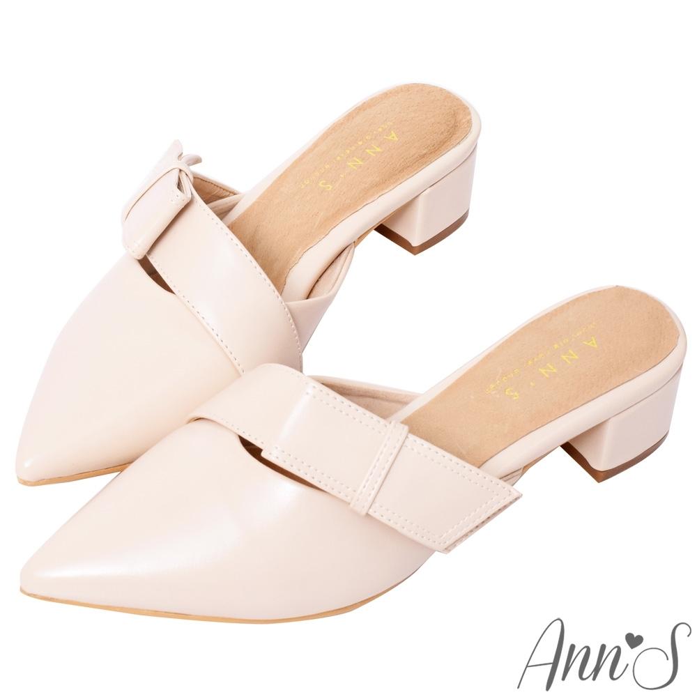 Ann'S氣質蔓生-不破內裡方結鞋帶顯瘦粗跟尖頭穆勒鞋 -杏