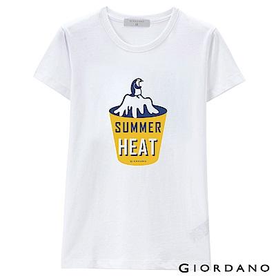 GIORDANO 女裝假期休閒印花T恤- 01 標誌白