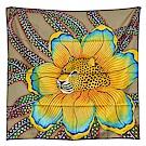 HERMES Baobab Cat系列花朵樹貓圖騰絲綢方型披巾/圍巾(淺駝色)