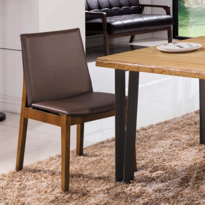 H&D 尼斯淺胡桃咖啡色皮餐椅