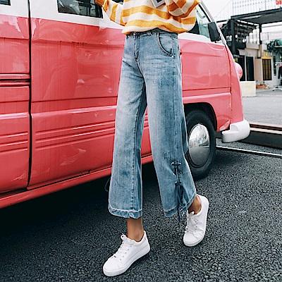 褲腳造型綁帶牛仔寬褲-XL~4XL-WHATDAY