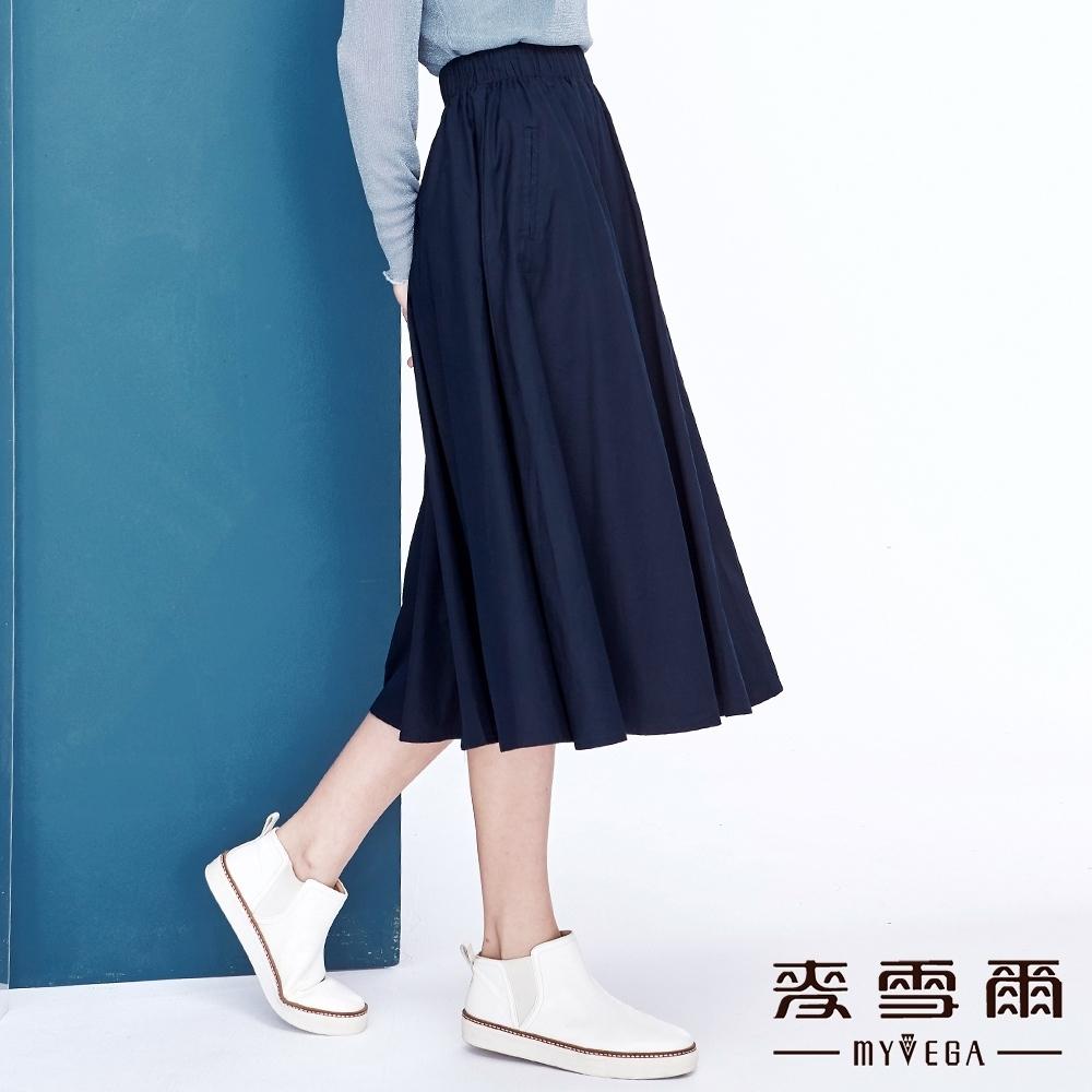 【麥雪爾】棉質打摺鬆緊腰身八分裙
