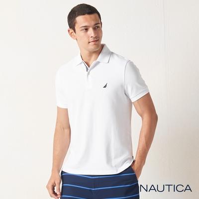 Nautica合身素色吸濕快乾短袖POLO衫-白