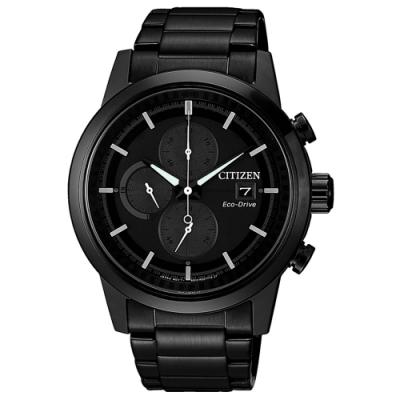 CITIZEN Eco-Drive 浪人足跡三眼腕錶-全黑(CA0615-59F)