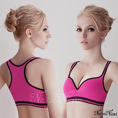運動內衣 深V羽型胸墊無鋼圈工字背運動內衣(紫紅配黑邊) Naya Nina