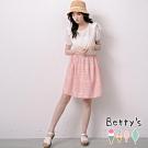 betty's貝蒂思 公主袖縮腰配色雪紡洋裝(淺粉)