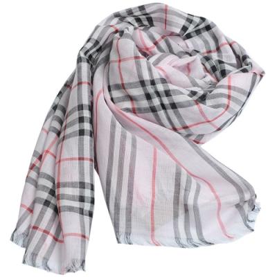 BURBERRY 義大利製經典條紋和 Vintage格紋羊毛混絲綢圍巾(淺粉紅色)