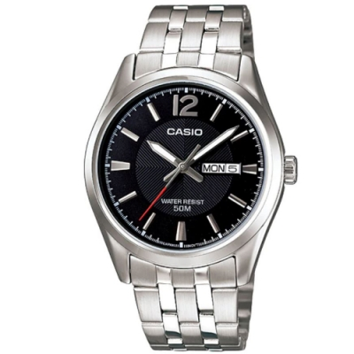 CASIO 簡約風格白領時尚不鏽鋼腕錶-黑(MTP-1335D-1A)/38mm