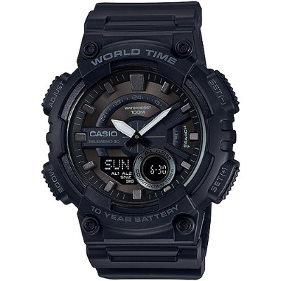 CASIO 雙層次設計運動風多功能雙顯錶-黑(AEQ-110W-1B)/32mm