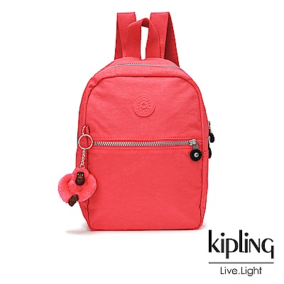Kipling 亮橘色素面拉鍊後背包-KAPONO