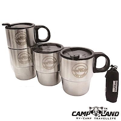 CAMP-LAND 四入 304不鏽鋼組合式雙層斷熱咖啡杯組(220cc)