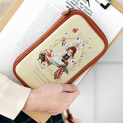 Indigo 世界童話皮革燒餅包萬用筆袋BIG-愛麗絲夢遊仙境