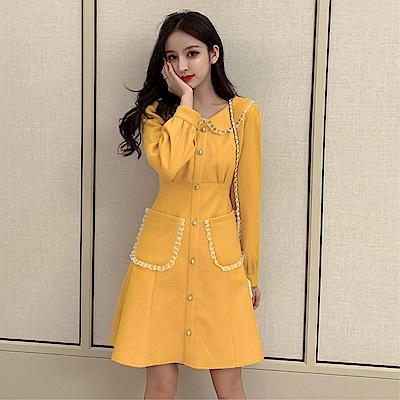 DABI 韓國風氣質網紅時尚名媛毛呢子長袖洋裝