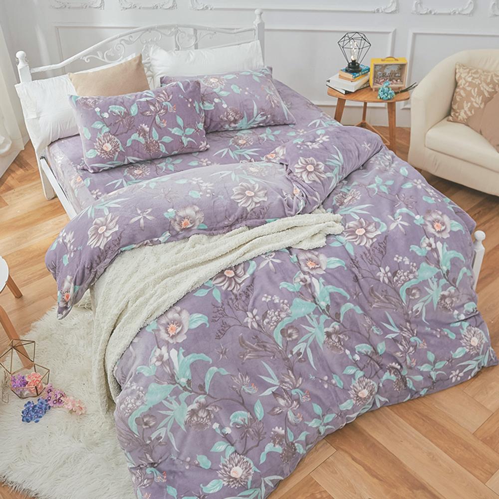 戀家小舖 / 法蘭絨  雙人特大床包兩用毯組  艾雪莉  保暖抗寒
