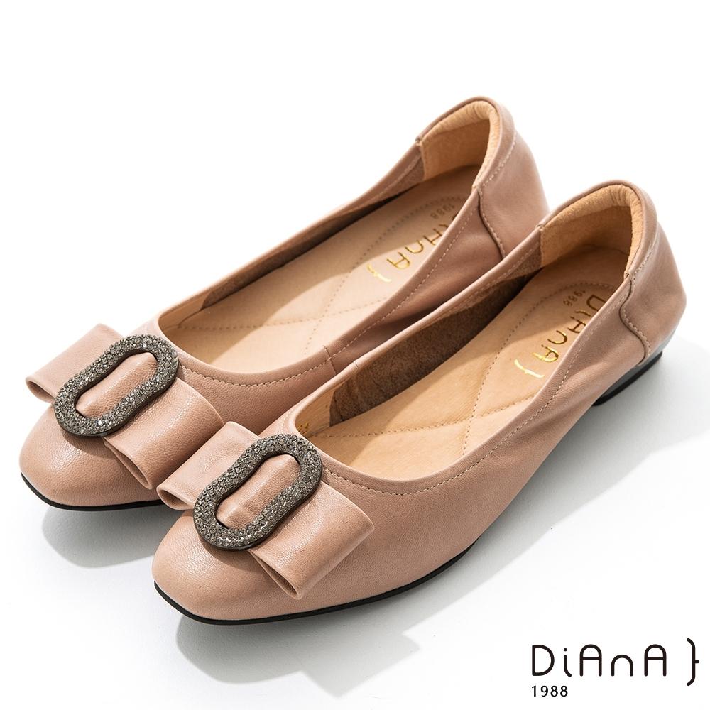 DIANA 2.5cm質感羊皮水鑽圓環尖頭娃娃鞋-俏皮甜美-卡其