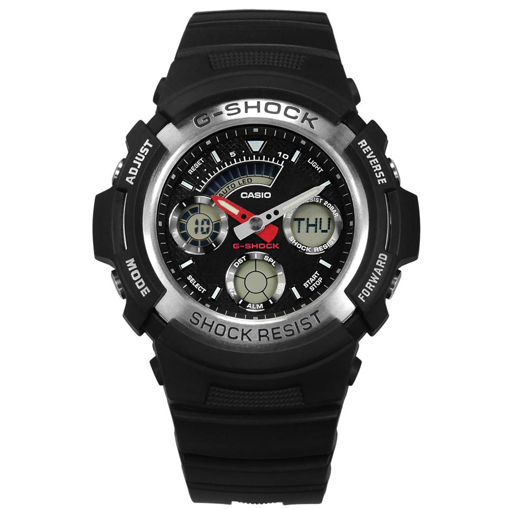 G-SHOCK CASIO 卡西歐 雙顯 計時 防水200米橡膠手錶-黑色/46mm
