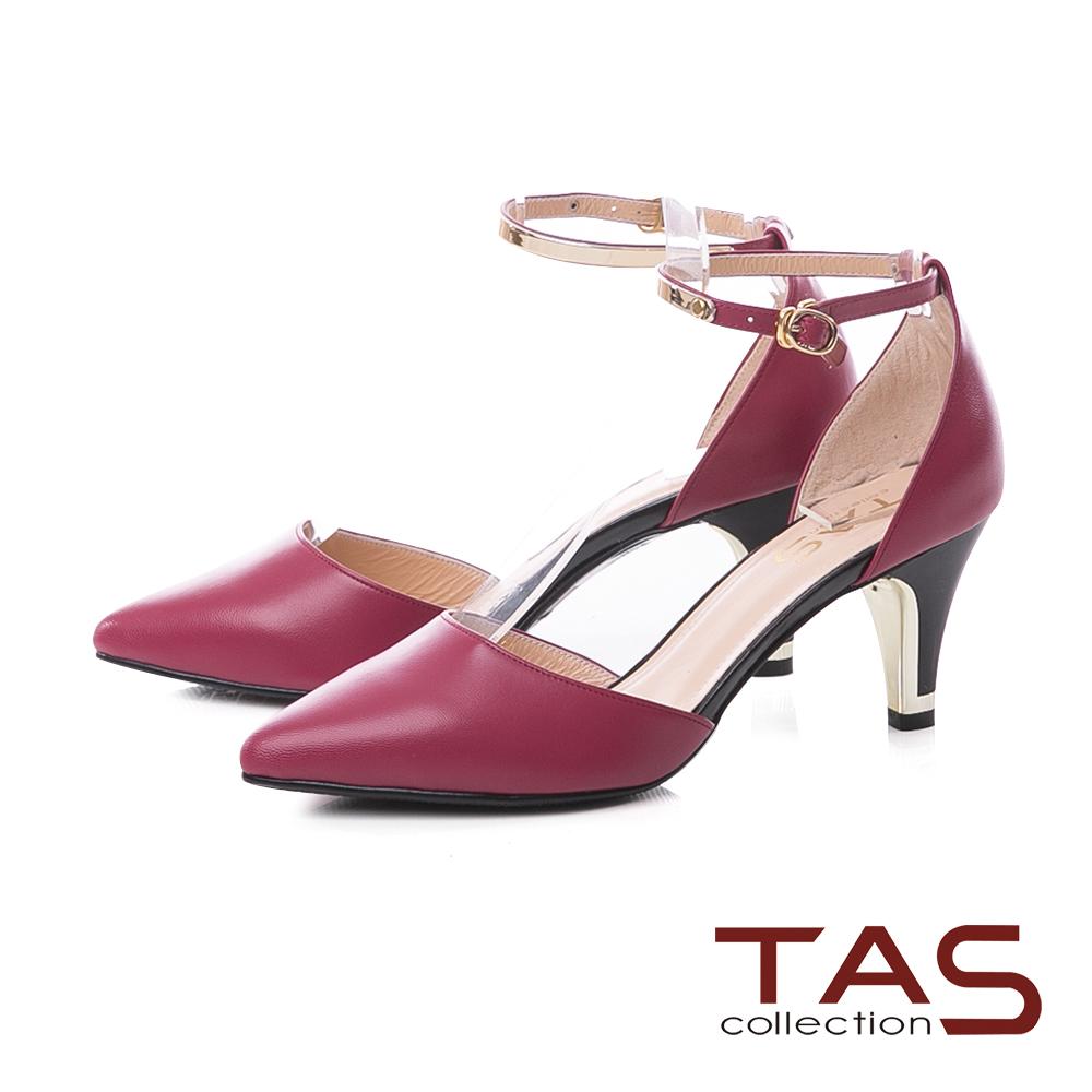 TAS質感金屬繞踝繫帶羊皮尖頭高跟鞋-莓果紅