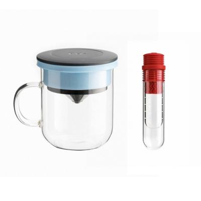 【PO:Selected】丹麥咖啡泡茶兩件組 (咖啡玻璃杯350ml-黑藍/試管茶格-紅)