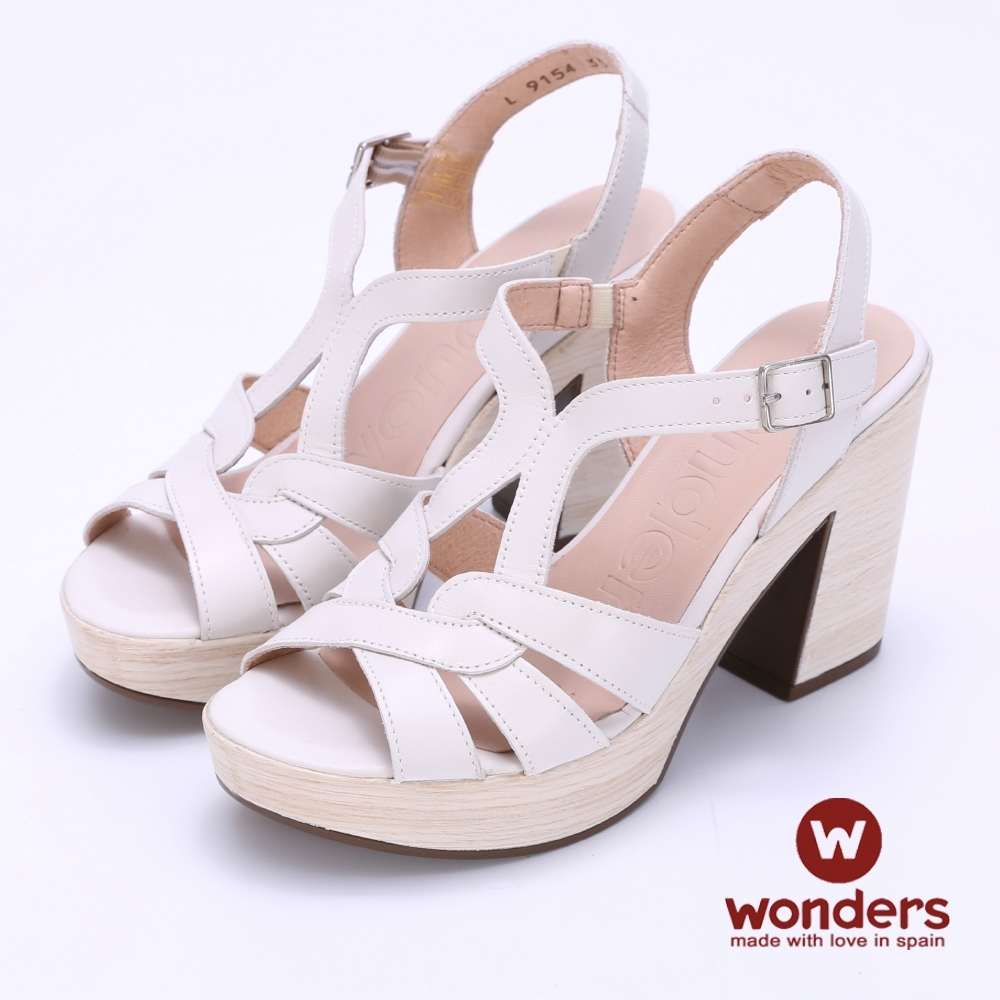 WONDERS -T字羅馬後帶粗跟涼鞋-白色