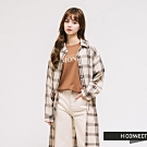 H:CONNECT 韓國品牌 女裝 - 附腰帶格紋長版襯衫-卡其