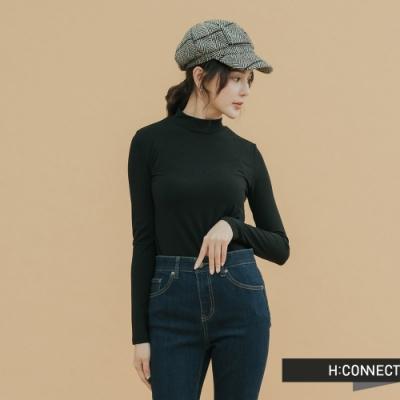 H:CONNECT 韓國品牌 女裝-素面小立領合身上衣-黑