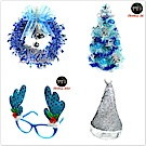 摩達客 30cm冰藍色聖誕樹銀藍松果-10吋藍金蔥雪紗花圈-閃亮銀星聖誕帽-冰雪藍鹿角眼鏡