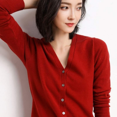 JILLI-KO 薄款羊毛開扣針織衫- 紅/白