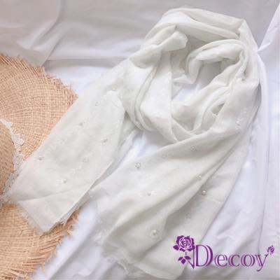 Decoy 雛菊珍珠 氣質棉柔透膚圍巾 白