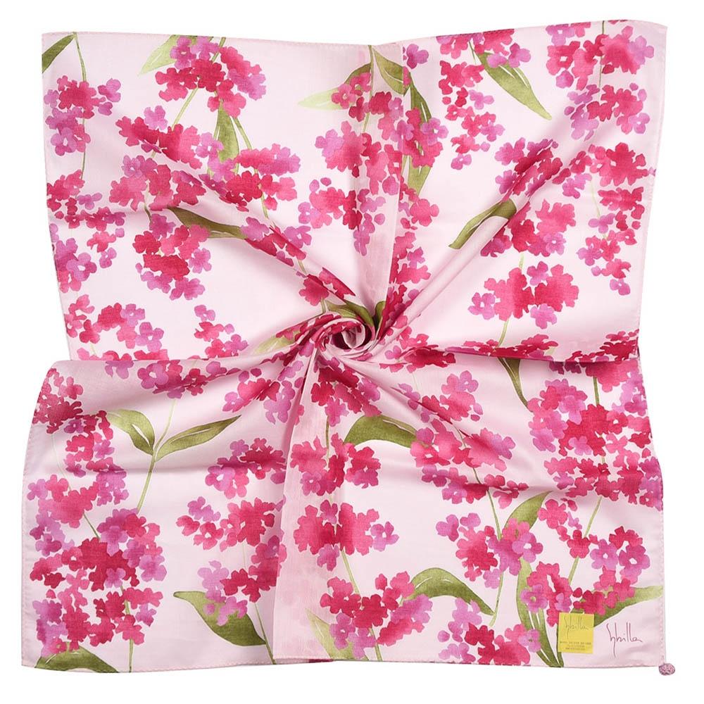 Sybilla 水彩風鼠尾草純綿帕巾領巾-粉紫色