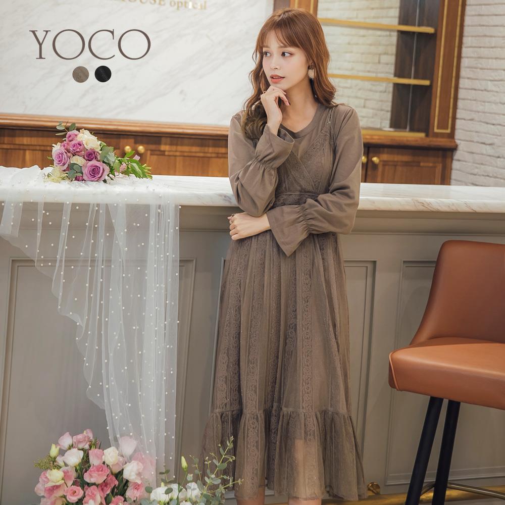 東京著衣-yoco 法國女孩真二件式細肩帶蕾絲洋裝-S.M.L(共二色)