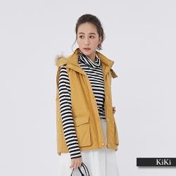 【KiKi】暖冬連帽鋪棉素面外套-背心(三色)