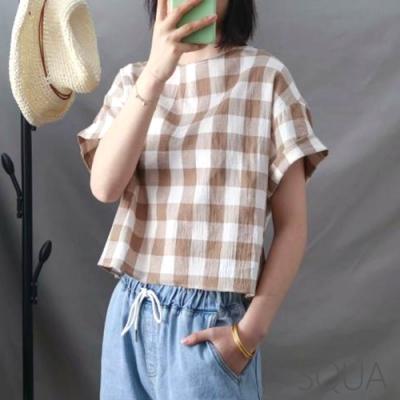 SQUA 格子棉麻短袖上衣-(M/L)