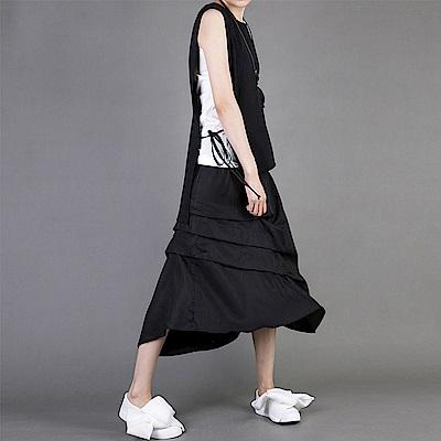 抽褶裙百搭寬鬆大碼顯瘦不規則長裙-設計所在 MP1588