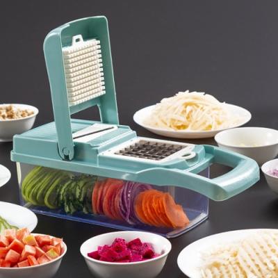 PUSH!廚房用品多功能切壓丁切條濾蛋清馬鈴薯絲手壓切菜器D191