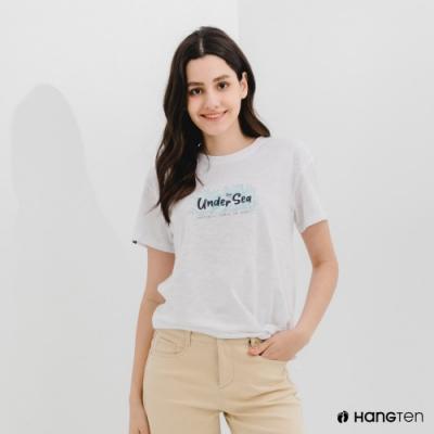 Hang Ten-女裝-有機棉下擺綁結印花短袖T恤-白色