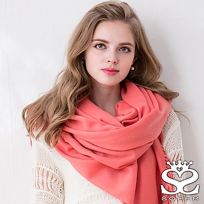 SOFER 簡約素色100%純羊毛保暖披肩/圍巾 - 珊瑚紅