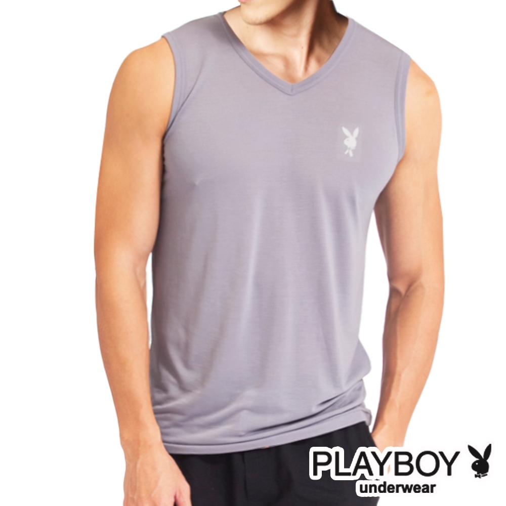 PLAYBOY 吸溼排汗速乾機能服 透涼V領無袖衫(淺駝灰)