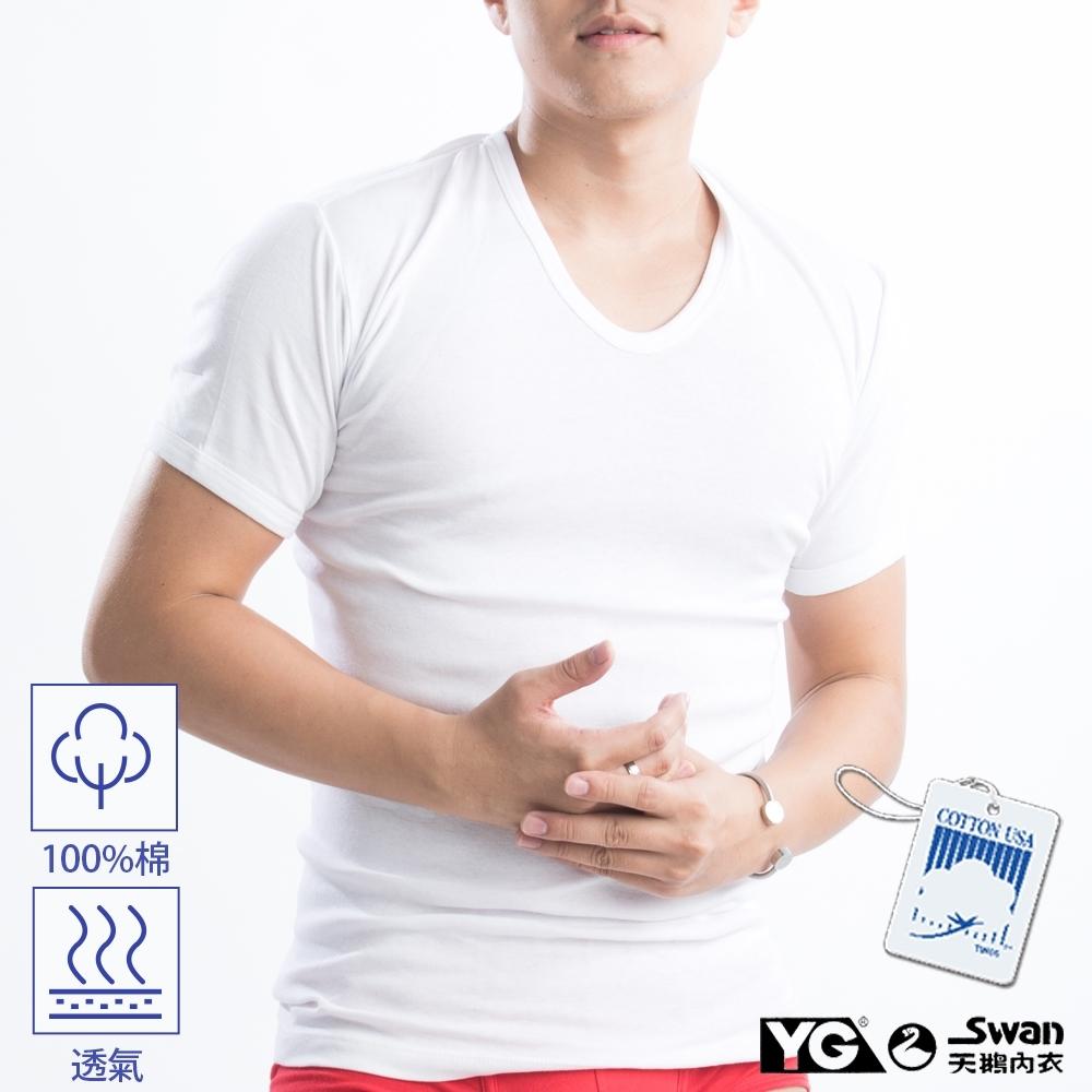 YG天鵝內衣 100%純棉白色短袖衫-單件