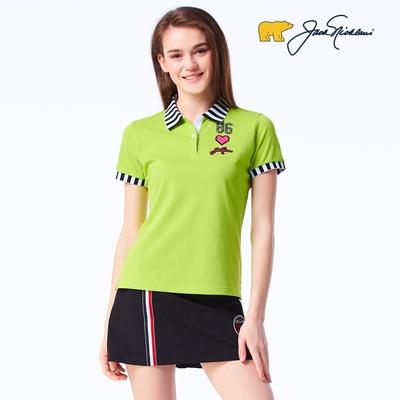【Jack Nicklaus】金熊GOLF女款素面吸濕排汗POLO衫-綠色