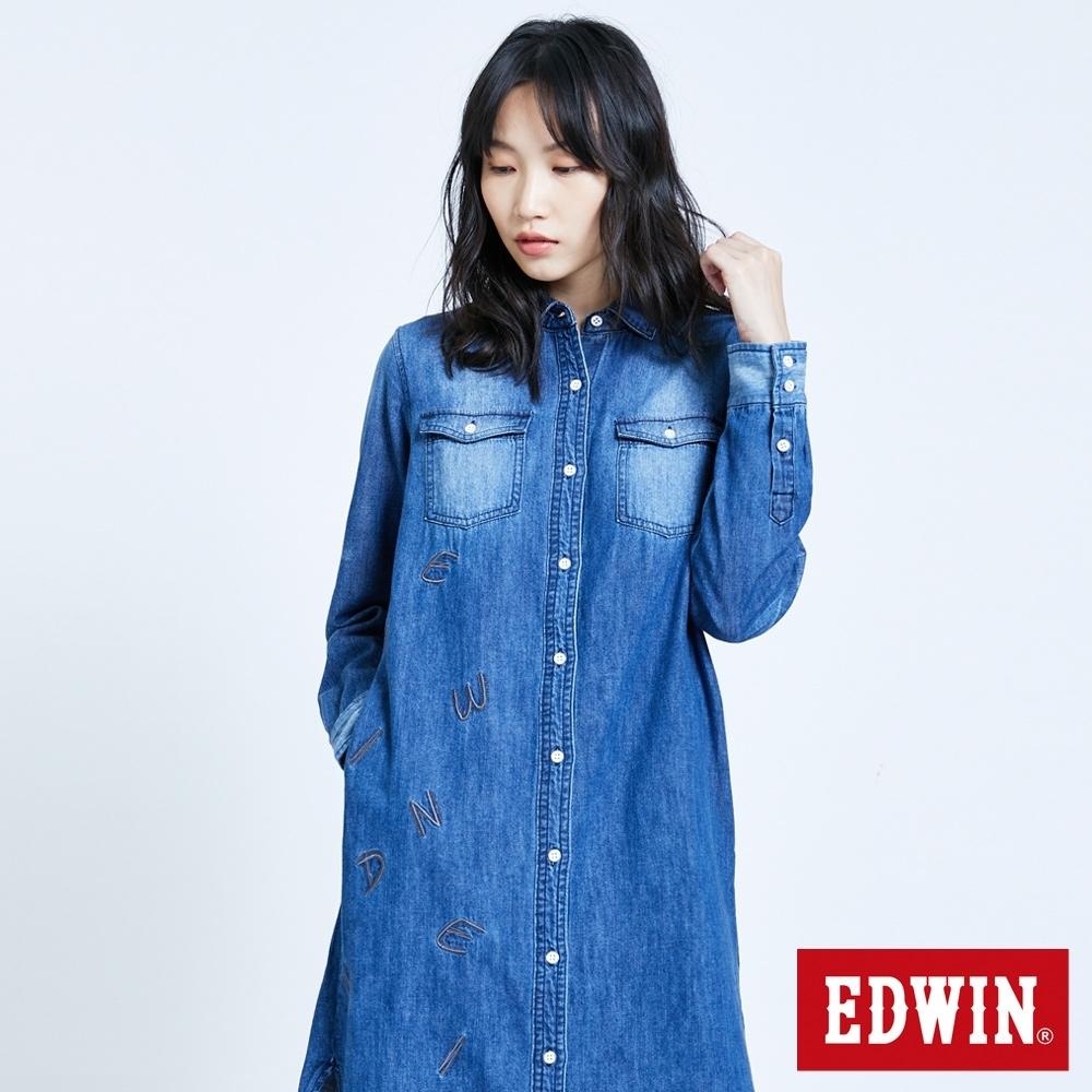 EDWIN 塗鴉系列 基本繡花長版牛仔襯衫-女-拔洗藍