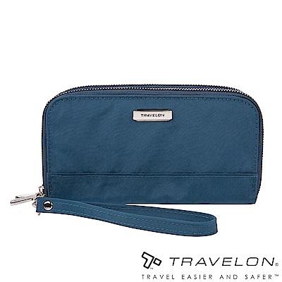 Travelon美國防盜包 RFID BLOCKING雙層拉鍊長夾TL1-43399藍
